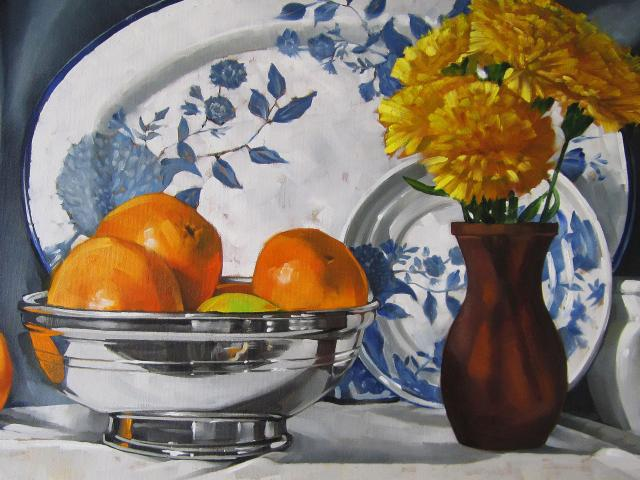 Oranges With Flowers, Oil on Canvas