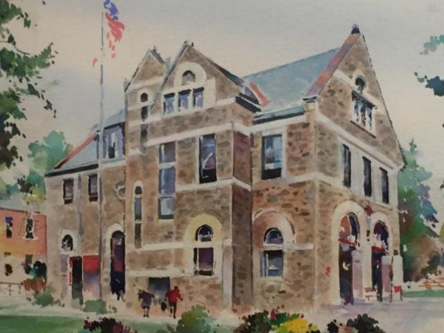 Chestnut Hill Fire House, Watson, Watercolor