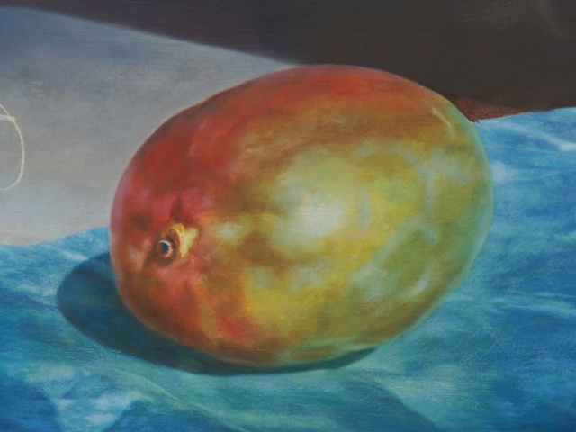 Mr. Mango & Turnip Tail, Gugell, Oil on Canvas