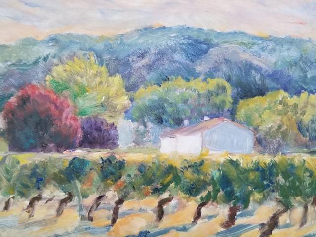 Les Vignes Autumne,  Oil, Helene Halstuch