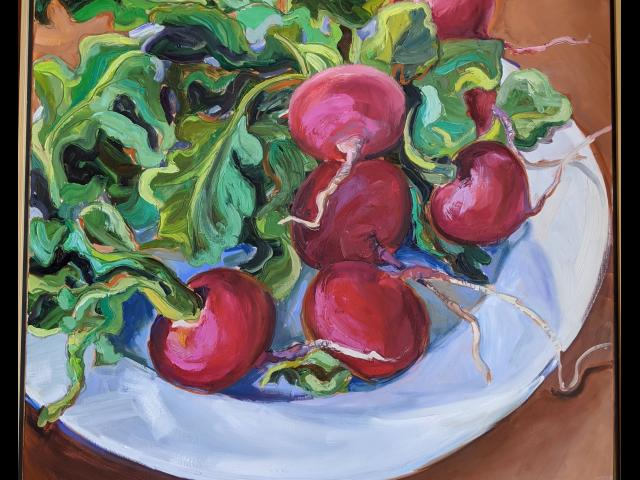 Deborah Hauser, Radishes in White Bowl, Oil on Canvas