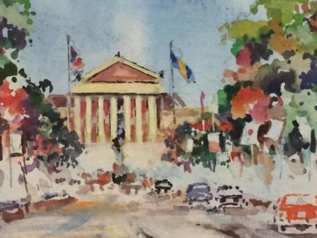 Art Museum in the Fall, Watson, Watercolor