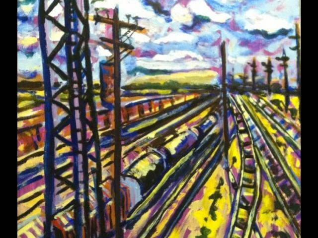 Train Yard in Violet, Oil, Marta Sanchez