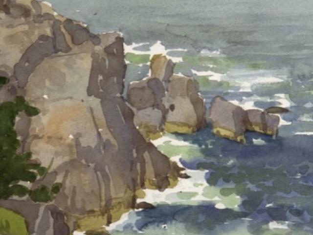 Pulpit Rock, Monhegan,watercolor