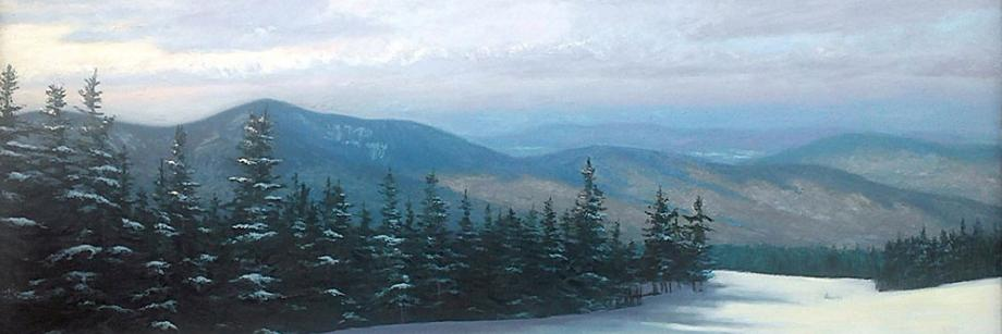 Lone Skier, Oil on Canvas